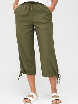 V by Very V By Very Linen Mix Crop Trouser - Khaki Picture