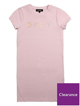 dkny-girls-short-sleeve-logo-t-shirt-dress-pink