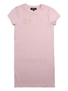 DKNY Dkny Girls Short Sleeve Logo T-Shirt Dress - Pink Picture
