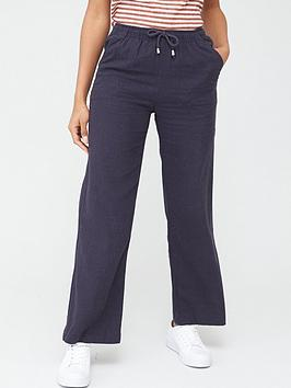 V by Very V By Very Linen Mix Trousers - Navy Picture