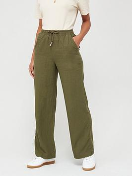 V by Very V By Very Linen Mix Trousers - Khaki Picture