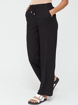V by Very V By Very Short Linen Mix Trouser - Black Picture