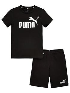 puma-essentials-2-piece-childrens-logo-t-shirt-and-woven-shorts-set-black