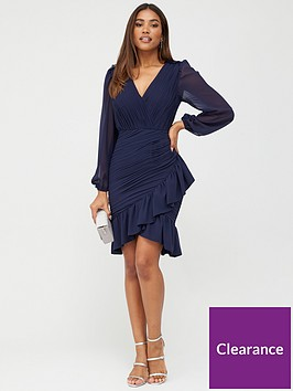 v-by-very-ruched-mini-dress-navy