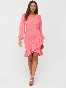 V by Very V By Very Ruched Mini Dress - Pink Picture