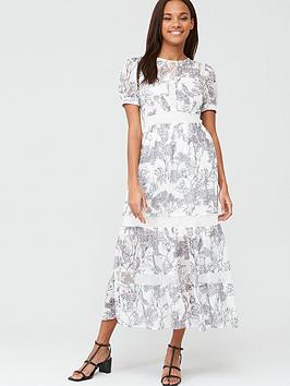 V by Very V By Very Lace Trim Toile Layered Maxi Dress - Mono Print