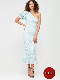 v-by-very-one-shoulder-fluted-hem-lace-dress-blue