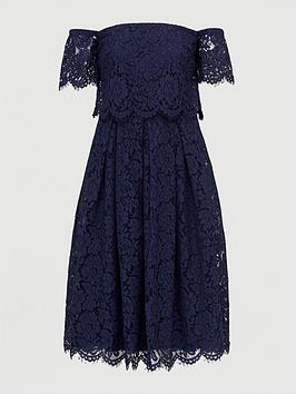 V by Very V By Very All Over Lace Bardot Prom Dress - Navy Picture