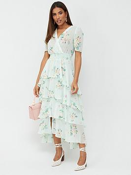 V by Very V By Very Ruffle Tiered Occasion Maxi Dress - Floral Picture