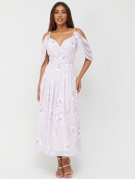 V by Very V By Very Cold Shoulder Drape Maxi Dress - Print Picture