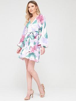 V by Very V By Very Blouson Sleeve Belted Skater Dress Picture
