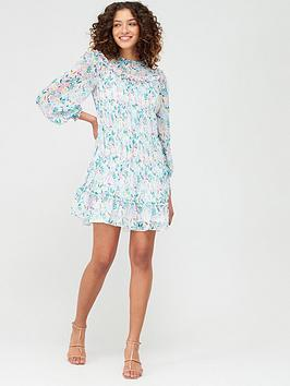V by Very V By Very Mesh Mix Tiered Tunic Dress - White Floral Picture