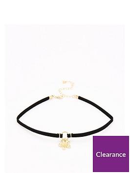 v-by-very-flower-drop-choker-necklace-black