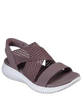 Skechers Skechers Ultra Flex Neon Star Cross Strap Flat Sandal - Mauve Picture