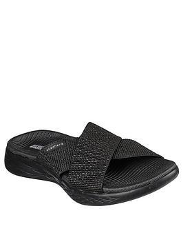 Skechers Skechers On-The-Go 600 Glistening Cross Strap Flat Sandal - Black Picture