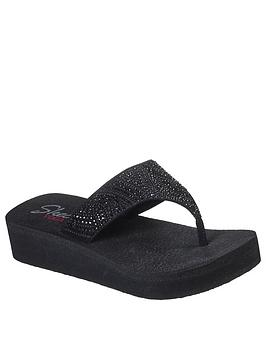 Skechers Skechers Vinyasa Stone Candy Wedge Flip Flop - Black Picture