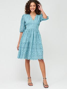 V by Very V By Very Broderie Button Through Midi Dress - Blue Picture