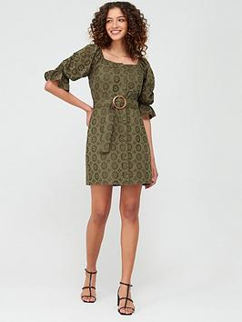 V by Very V By Very Broderie Button Through Pencil Dress - Olive Picture