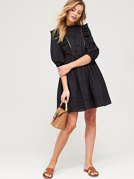 V by Very V By Very Embroidered Ruffle Smock Dress - Black Picture
