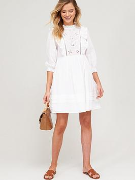 V by Very V By Very Embroidered Ruffle Smock Dress - White Picture