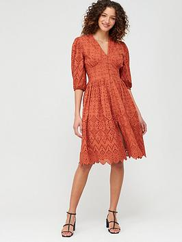 V by Very V By Very Broderie Button Through Midi Dress - Rust Picture