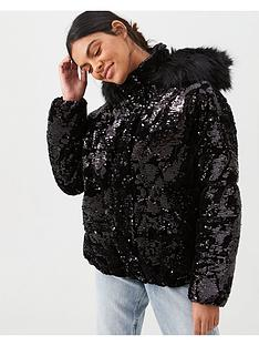 river-island-river-island-sequin-padded-jacket-black
