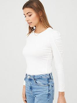 Warehouse Warehouse Jersey Puff Sleeve Top - Cream Picture