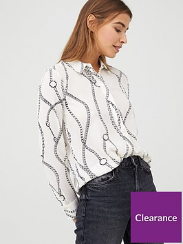 warehouse-chain-print-shirt-ivory
