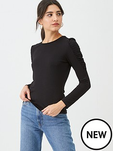 warehouse-jersey-puff-sleeve-top-black