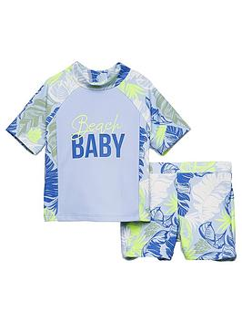 River Island River Island Baby Boys Printed Rash Swim Outfit - Blue Picture