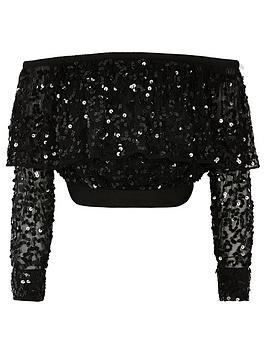 River Island River Island Girls Sequin Bardot Long Sleeve Top-Black Picture