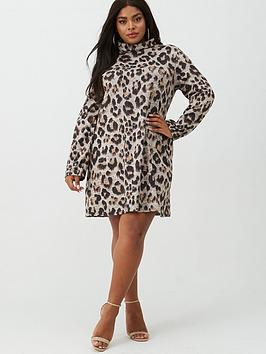 V by Very Curve V By Very Curve Brushed Snit Roll Neck Tunic - Animal Picture