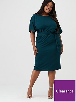 v-by-very-curve-crepe-kimono-sleeve-pencil-dress-green