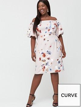 little-mistress-curve-bardot-floral-shift-dress-multi