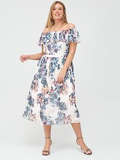 little-mistress-curve-floral-pleated-bardot-midi-dress-multi