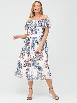little-mistress-curve-floral-pleated-bardot-midi-dress-multi