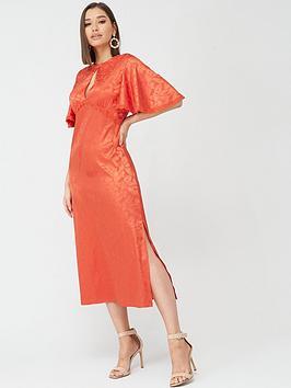 little-mistress-short-sleeved-midaxi-jacquard-dress-salsa