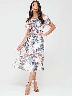 little-mistress-floral-pleated-bardot-midi-dress-multi