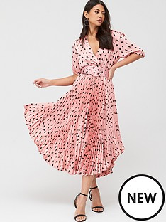 u-collection-forever-unique-v-neck-pleated-midi-dress-pink