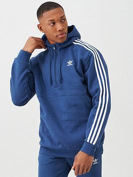 adidas Originals  Adidas Originals 3 Stripe Half Zip Hoodie - Blue