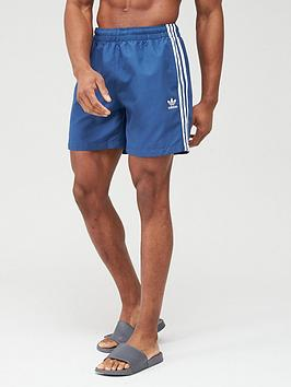 adidas Originals  Adidas Originals 3 Stripe Swim Shorts - Navy