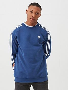 adidas Originals Adidas Originals 3 Stripe Crew Neck Sweat - Navy Picture