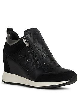 Geox Geox Nydame Leather And Suede Wedge Trainer - Black Picture