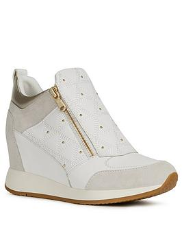 Geox Geox Nydame Leather And Suede Wedge Trainer - White Picture