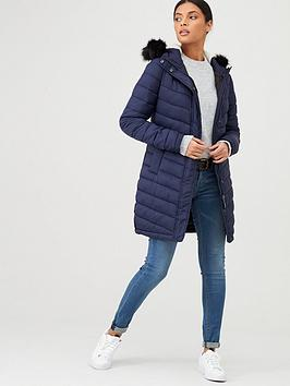 Superdry Superdry Chevron Faux Fur Super Fuji Parka - Navy Picture