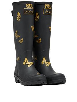 Joules Joules Printed Welly With Adjustable Gusset - Black Picture