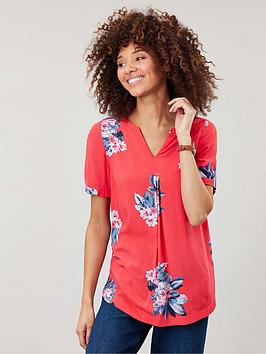 joules-leona-v-neck-woven-top-red
