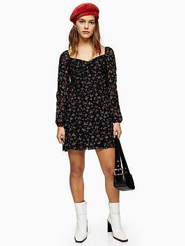 Topshop Topshop Petite Floral Lace Gypsy Mini Dress - Black Picture