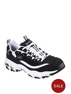 skechers-dlites-quarter-webbing-eyelet-lace-up-trainer-blackwhite