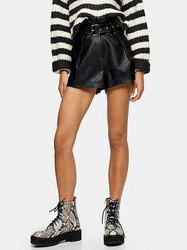 Topshop Topshop Pu Belted Shorts - Black Picture